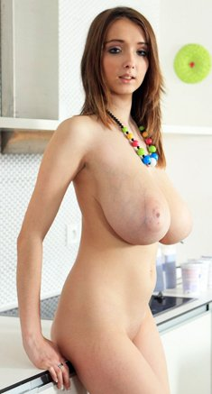 Busty Buffy in kitchen