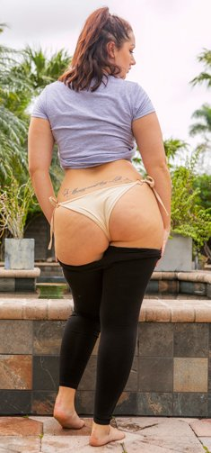 Chubby amateur girl Lexi Lloyd takes off black leggings and panties