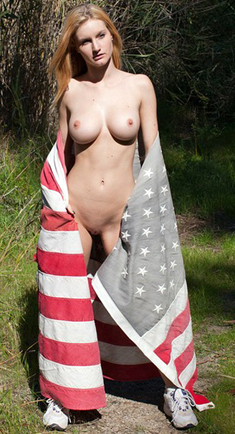 Busty girl nude outdoors with american flag