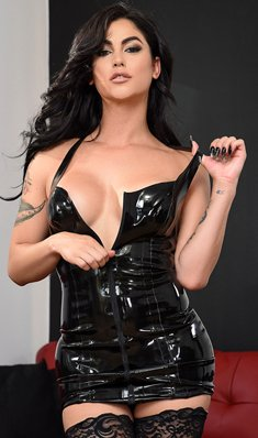 Hot brunette Jane in latex