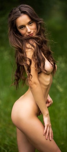 Amazing sexy brunette Gloria is waiting for you all alone and nude in the woods