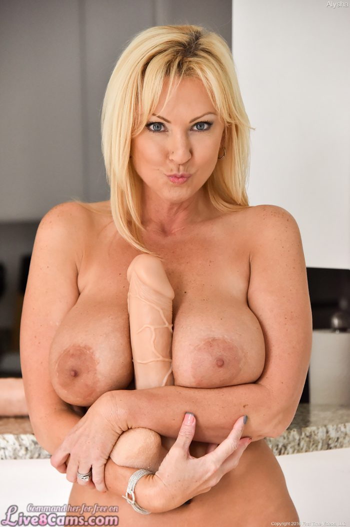 Hot mature blonde with huge tits