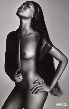 Ebony supermodel Naomi Campbell naked for Lui Magazine