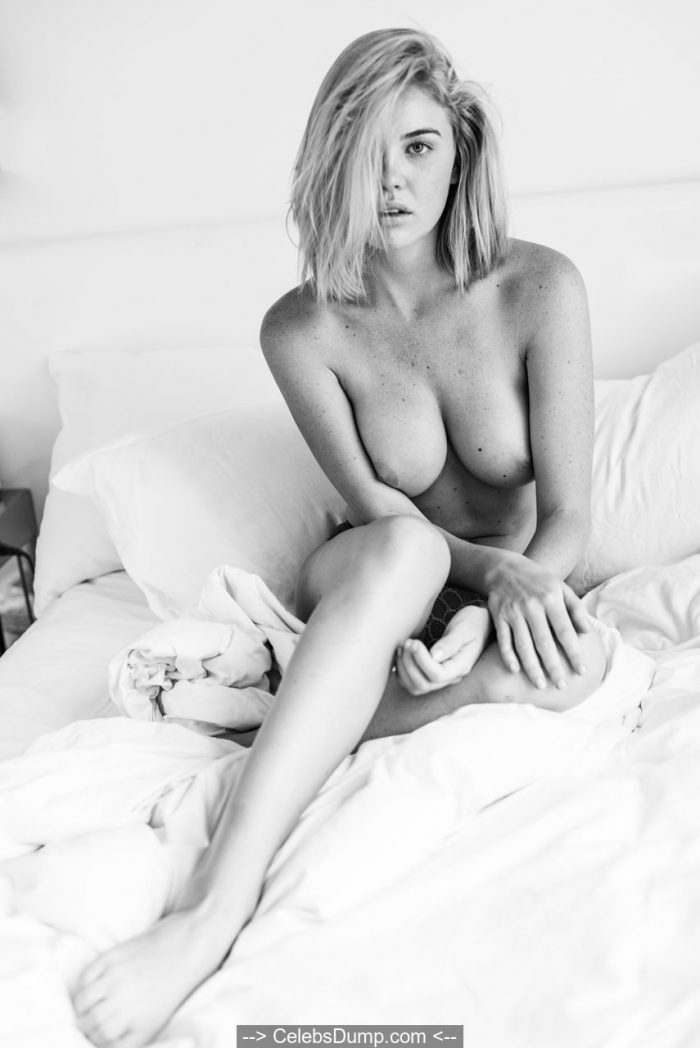 Kayslee Collins in see through lingerie and topless on a bed