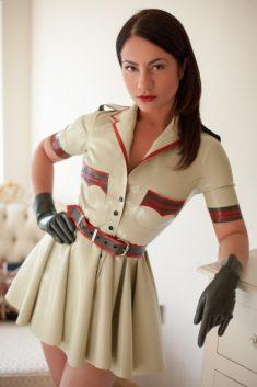 Seductive brunette in latex clothes