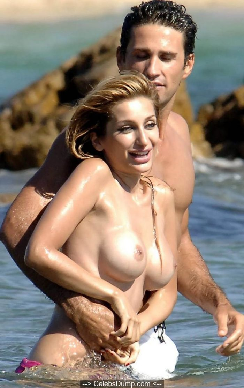Negar Khan topless on a beach