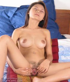 Young asian girl expands her cute hairy pussy