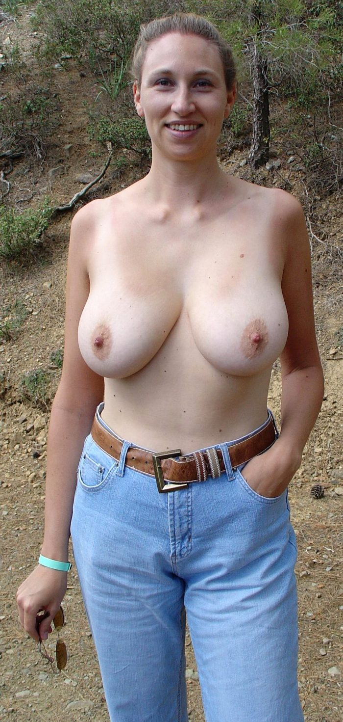 Busty amateur GF topless in nature