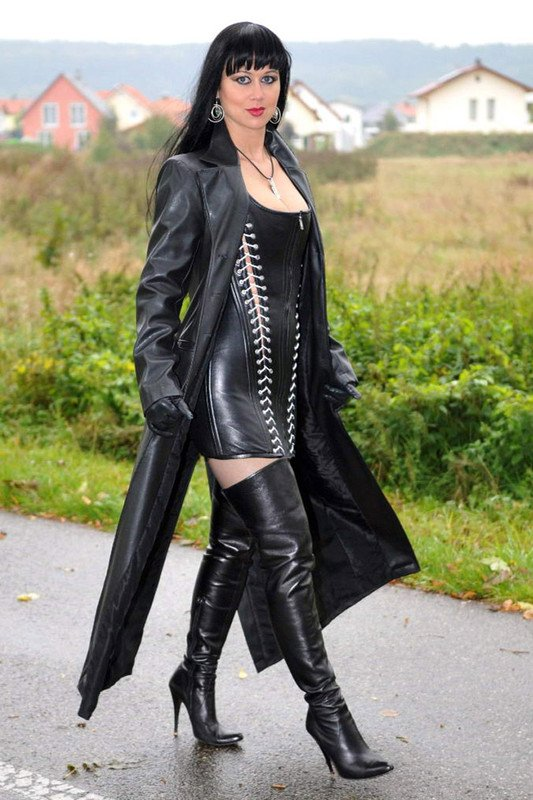 Beauty in black leather