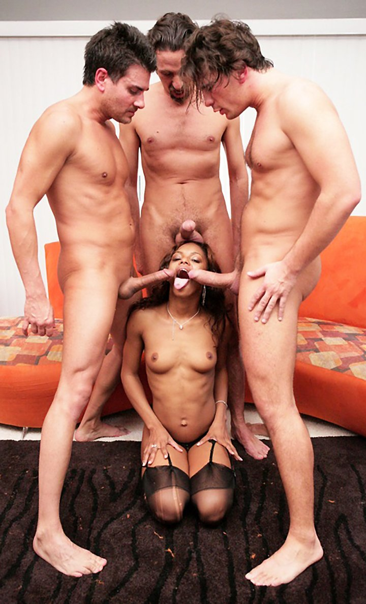 Skinny Ebony Slut Oral Serve Three White Cocks – Interracial Blowjob