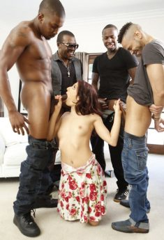 White Bitch Serve Four Black Cock – Interracial Gangbang