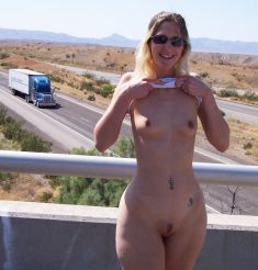Hot blonde amateur wife naked outside on the bridge