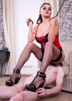 Caucasian Mistress Facesitting Femdom With Fishnet Stockings