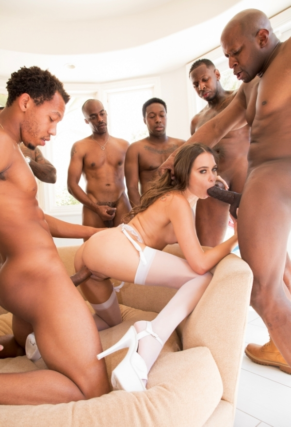 Interracial Gangbang With Riley Reid and More Ebony Guys