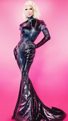 Miss Fame in a sexy long dress