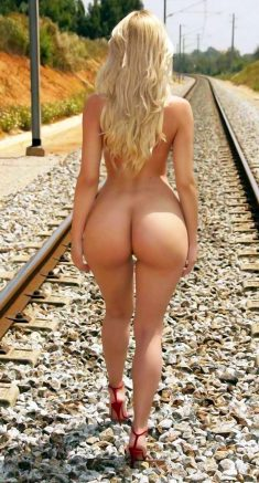 Blonde girl with a nice big ass on the rails
