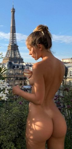 Mathilde Tantot naked new photo drinking wine in Paris