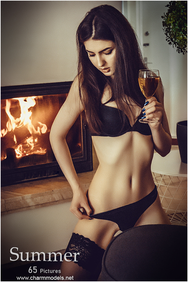 Summer thin girl in lingerie evening with wine