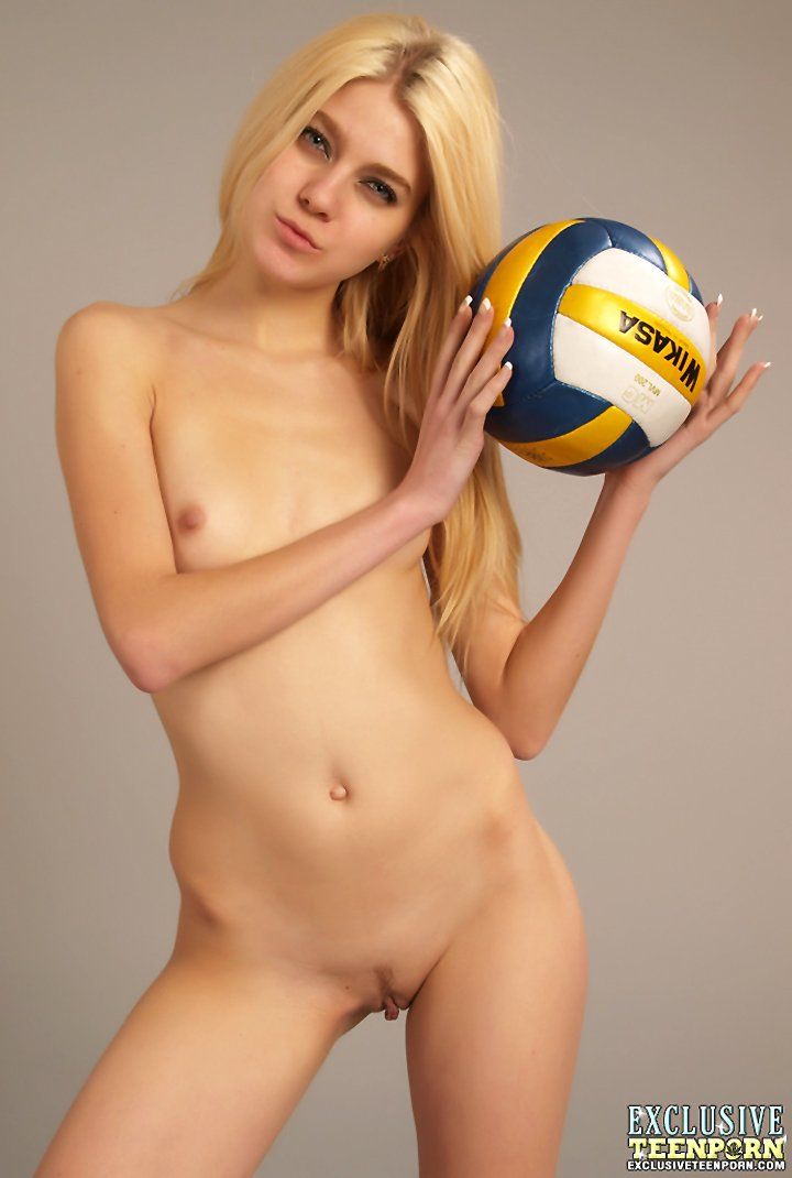 Young blonde Sveta models totally nude with sporting goods