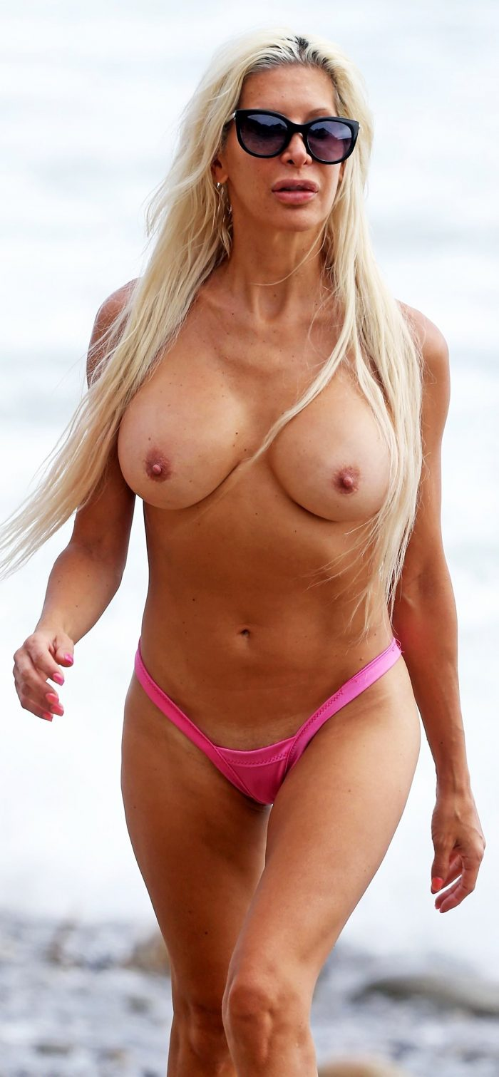 Angelique Morgan topless on beach
