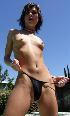 Slim brunette with small pierced boobies Jezebelle Bond posing nude