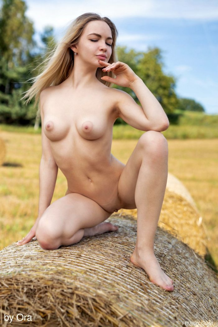Cute blonde Sophie Gem stripteasing outdoors and posing nude