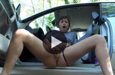 Wet masturbation with a banana in the car