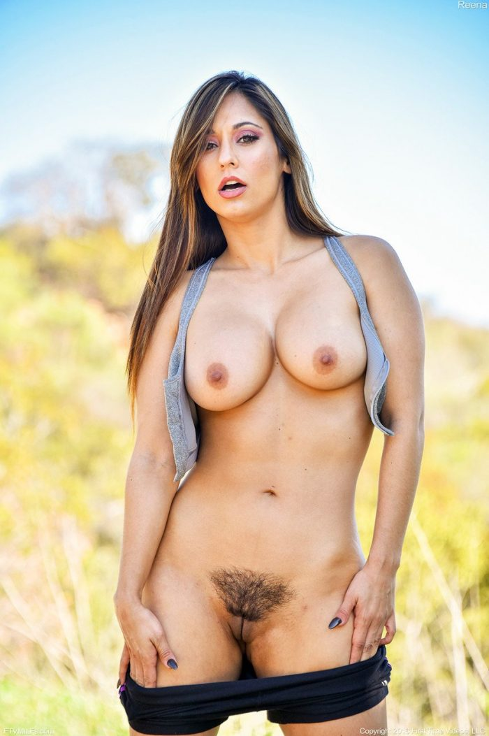 Reena Sky shows big natural tits and trimmed pussy