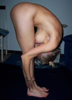 Naked amateur female in a special position