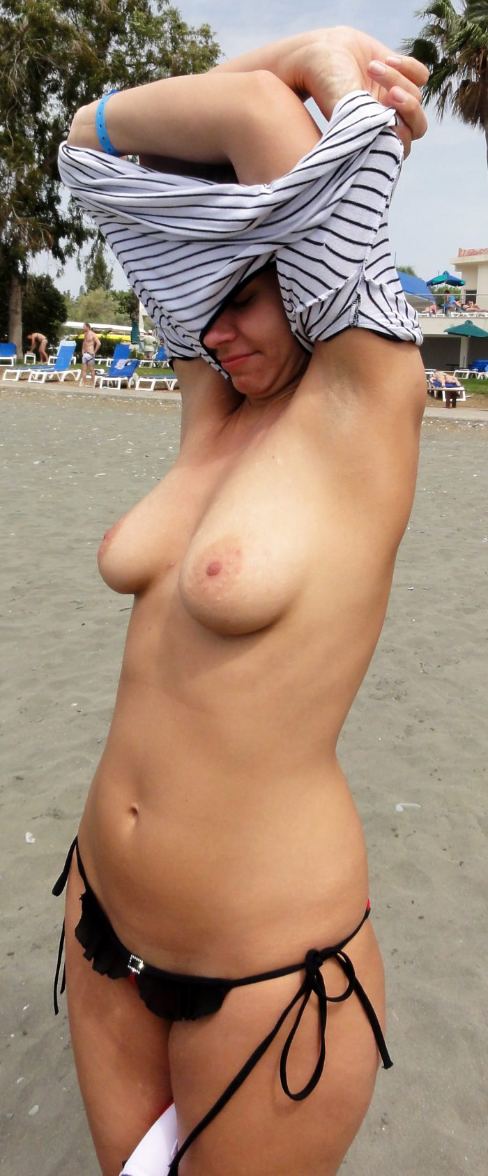 Sexy amateur topless outdoors