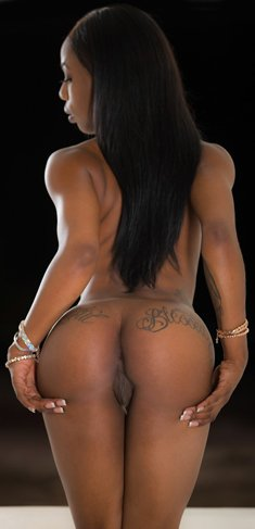 Busty ebony babe Sarah Banks shows sexy ass and pierced nipples