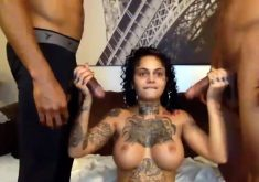 Tattooed slut take two big black cocks in hardcore threesome
