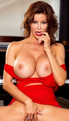 Hot busty cougar Alexis Fawx red lipstinck with finger in mouth
