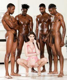 Hot slut Angelina Diamanti gets gangbanged by black men