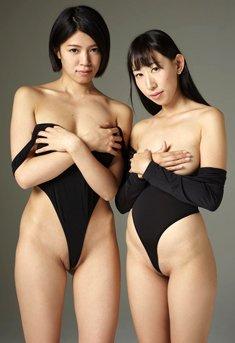 Japanese beauties Sayoko and Yun posing together nude