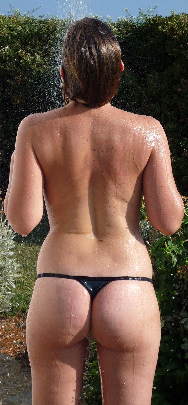 Outdoor shower only in panties