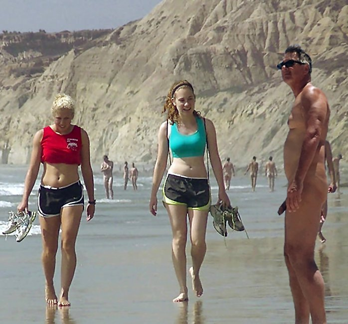 True nudist and girlfriends on beach