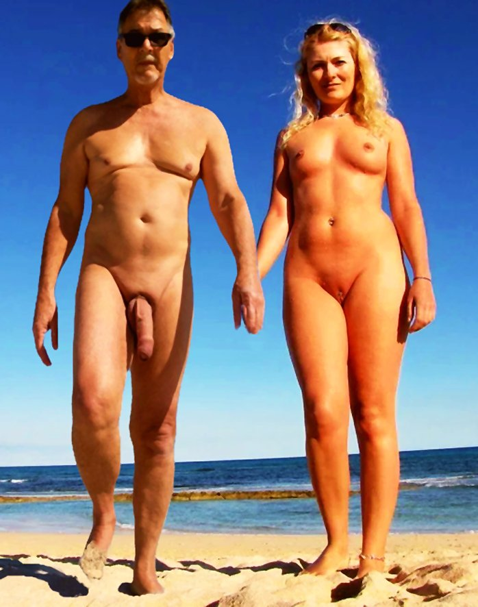 True nudist with big cock on the beach with a sexy blonde