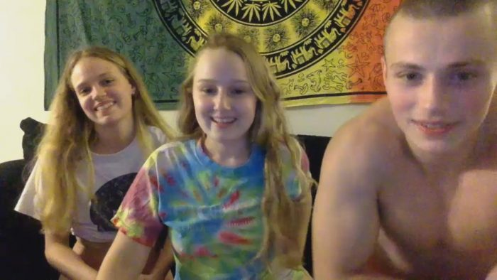 Hardcore amateur threesome with two cute teens and horny guy