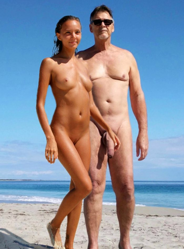 True nudist with huge cock and young girl on beach