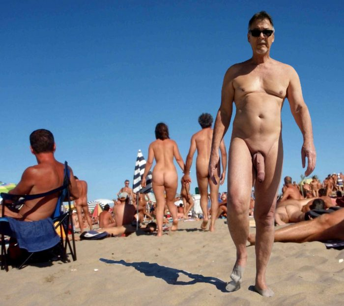 True nudist with big cock on a nudist beach