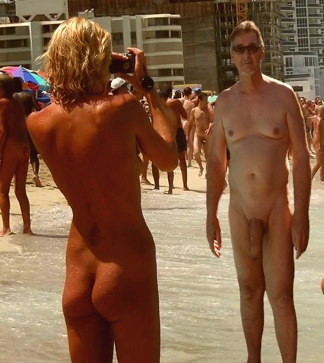 True nudist with big cock on nudist beach with friends