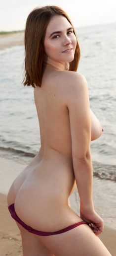 Young busty girl Elfie removes bikini for great nude poses at the beach