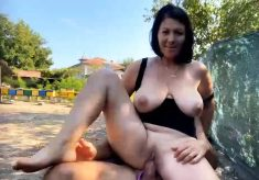 Busty amateur MILF brunette gets anal fucked outdoor