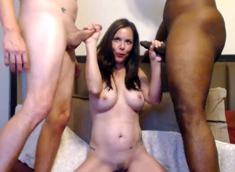 Husband share slutty wife with BBC in hardcore threesome