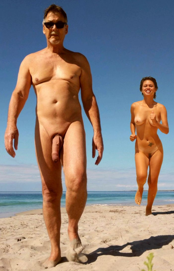 True nudist and brunette with trimmed pussy on beach