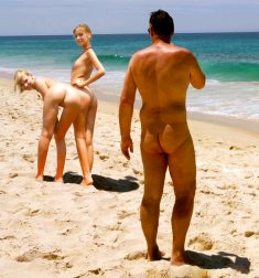 True nudist and two naked blondes