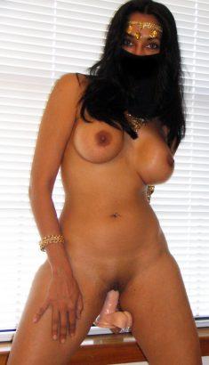 Busty arab woman reveals her body before masturbation