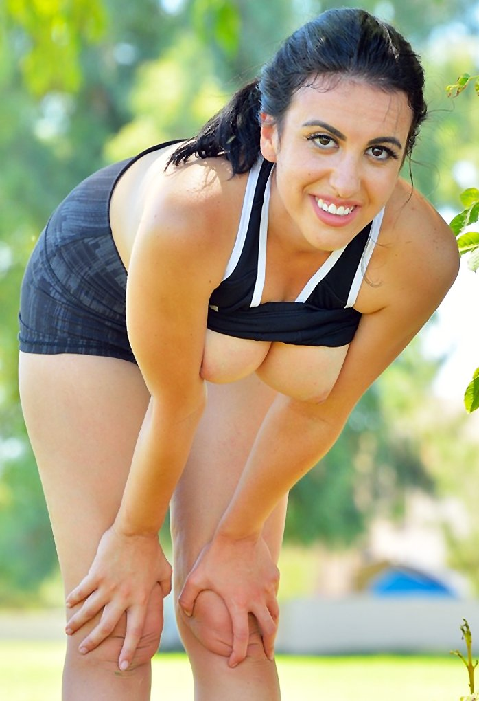Flexible girl with big tits Saraya posing naked in public